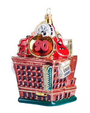 One of the 90th anniversary ornaments, available for $45, resembles the outside of the Tennessee Theatre.