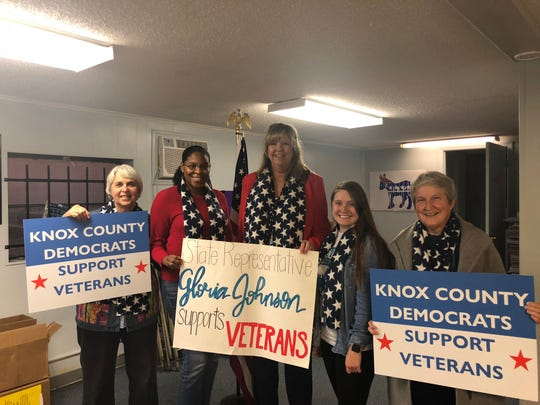 State Rep. Gloria Johnson and Knox County Democratic Party members participated in the Veterans Day parade on Friday, Nov. 9, 2018. From left: Linda Haney, LaKenya Middlebrook, Johnson, Savannah Gillette, Kathy Manning. Middlebrook is the new chair of the county Democratic Party. Not pictured: Indya Kincannon, Janice Spoone.