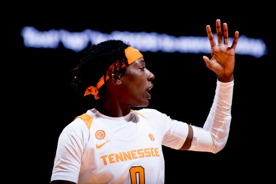 Tennessee guard/forward Rennia Davis (0) calls during a game between Tennessee and UNC Asheville at Thompson-Boling Arena in Knoxville, Tennessee on Wednesday, November 14, 2018.