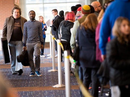 Auditionees go through the registration line during America's Got Talent auditions on Thursday in Knoxville.