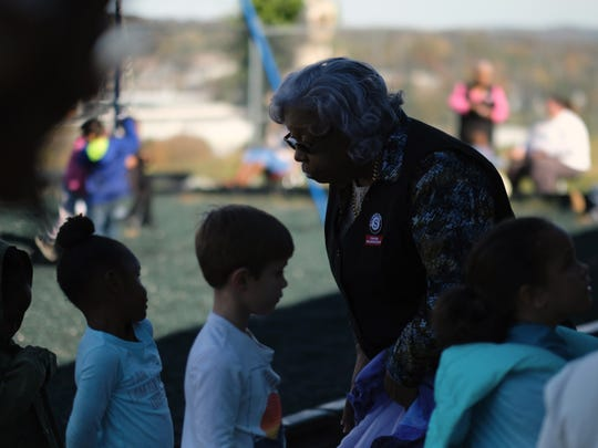 Foster Grandparent Hattie Crockett lines kindergartners up after recess at Green Magnet Academy on Wednesday, November 7, 2018 in Knoxville. Crockett has been serving as a Foster Grandparent along with her sister Lena Morrison for three years in Knoxville.