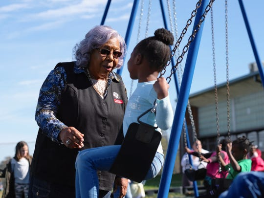 Foster Grandparent Hattie Crockett speaks with kindergartners during recess at Green Magnet Academy on Wednesday, November 7, 2018 in Knoxville. Crockett has been serving as a Foster Grandparent along with her sister Lena Morrison for three years in Knoxville.