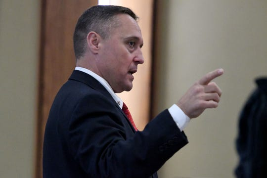 Sevier County Assistant District Attorney General Ron C. Newcomb during the trial of Brian Mullinax and Tina Cody Thursday, November 15, 2018. They are charged with causing a Sevier County deputy's panic attack after he – Justin Johnson – opened fire on them and they were on the ground. Their trial started  in Sevier County Criminal Court.