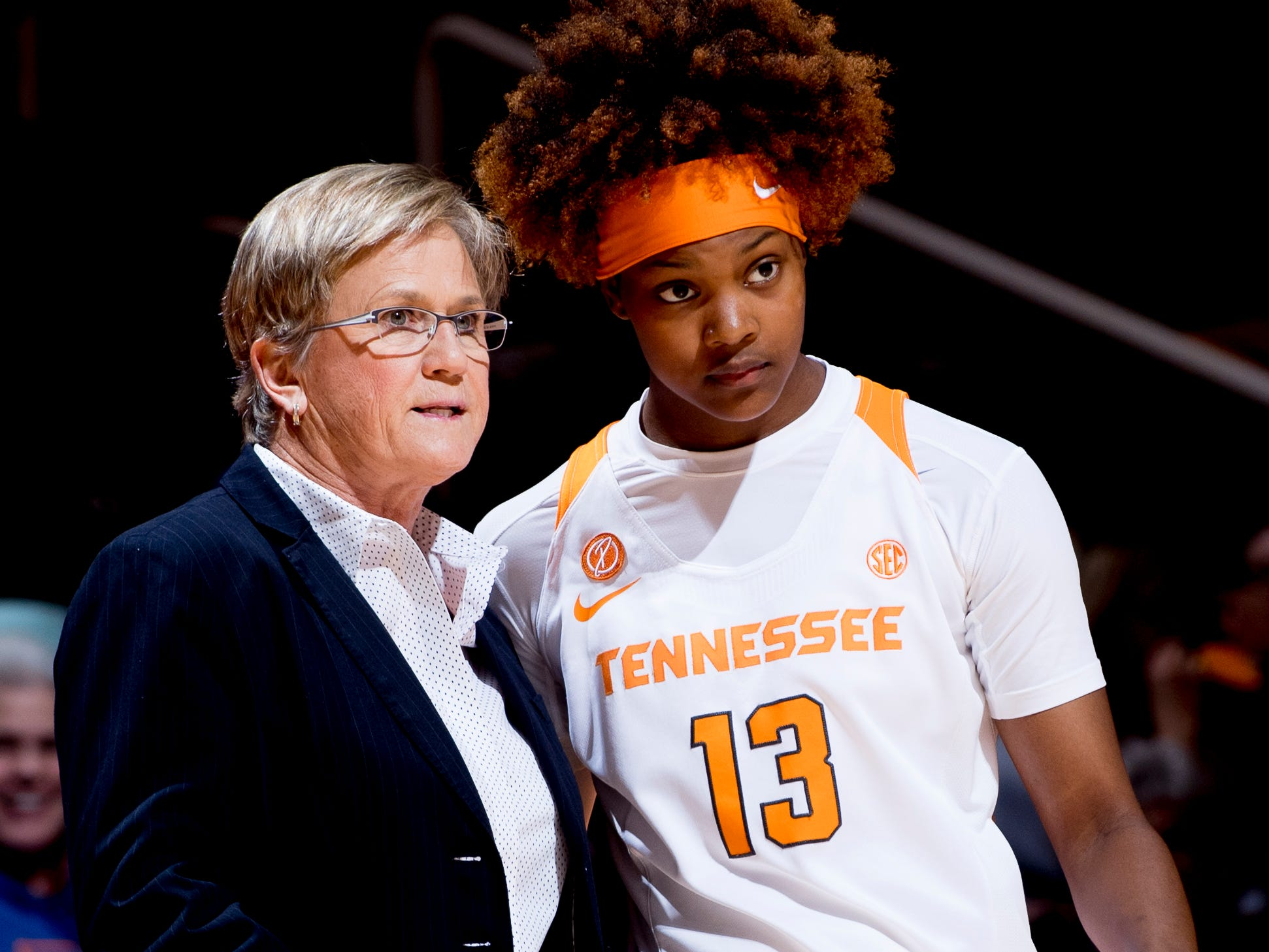 Tennessee Head Coach Holly Warlick speaks with Tennessee guard Jazmine Massengill (13) during a game between Tennessee and UNC Asheville at Thompson-Boling Arena in Knoxville, Tennessee on Wednesday, November 14, 2018.