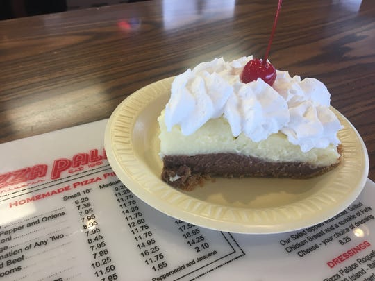 Pizza Palace's blackbottom pie is made up of graham cracker crust, a layer of chocolate filling and a layer of vanilla filling.