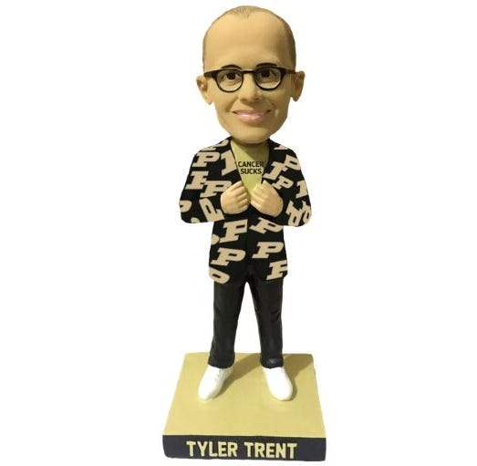 A prototype of the Tyler Trent bobblehead created by the National Bobblehead Hall of Fame.