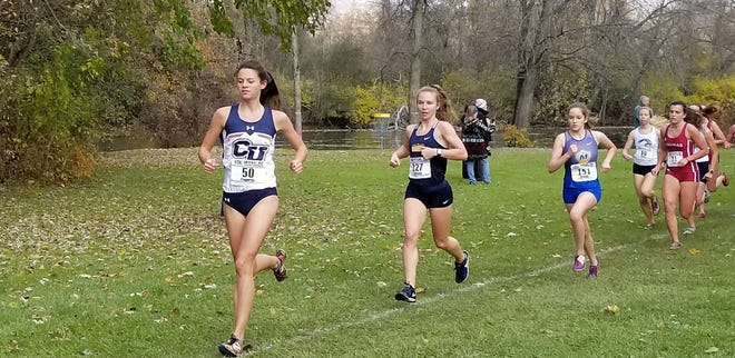 Madison Paquette (50) is the first Cleary University runner to qualify for an NAIA national cross country meet.