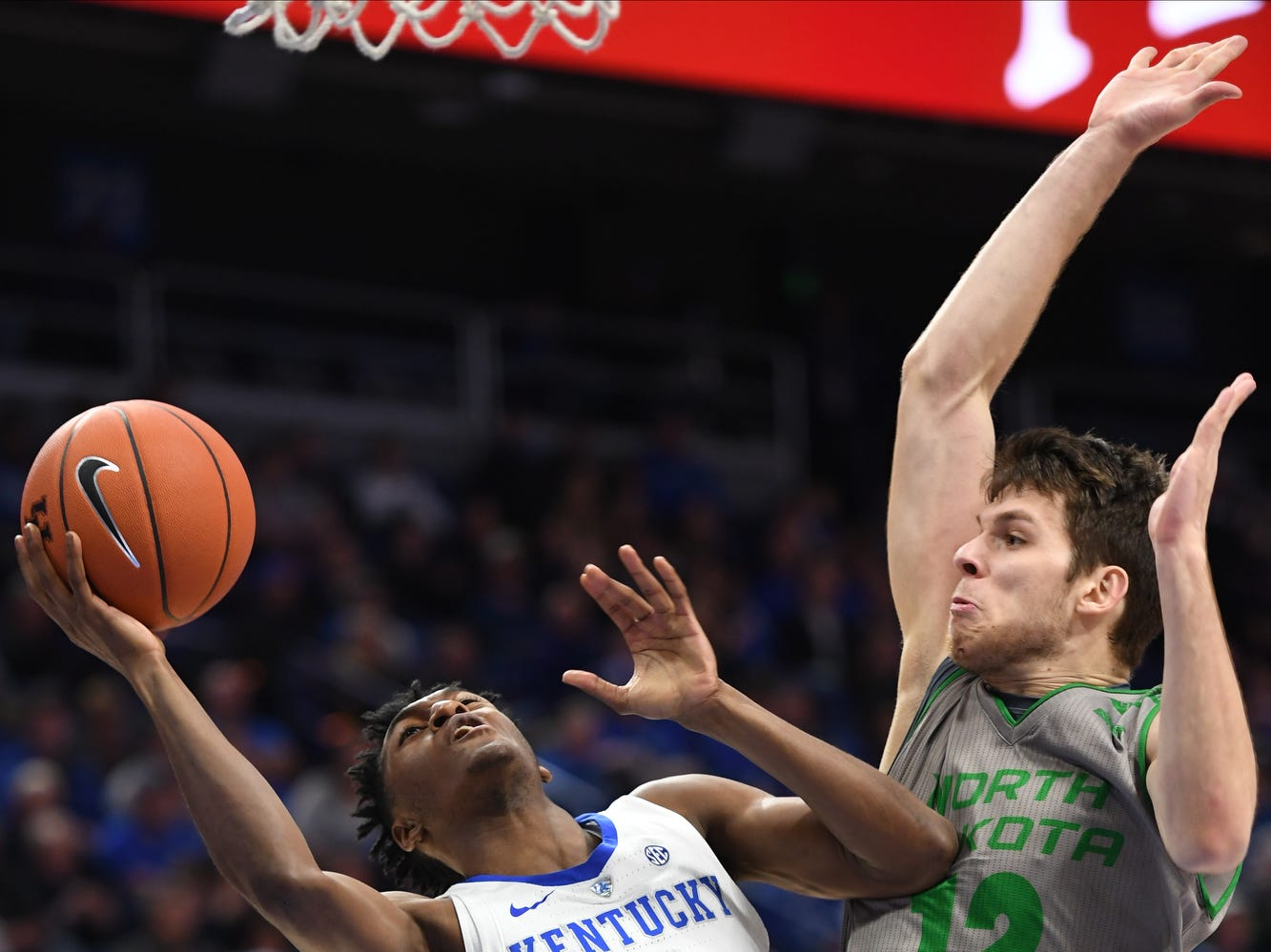 UK G Immanuel Quickley puts up the ball during the University of Kentucky mens basketball game against North Dakota at Rupp Arena in Lexington, Kentucky on Wednesday, November 14, 2018.
