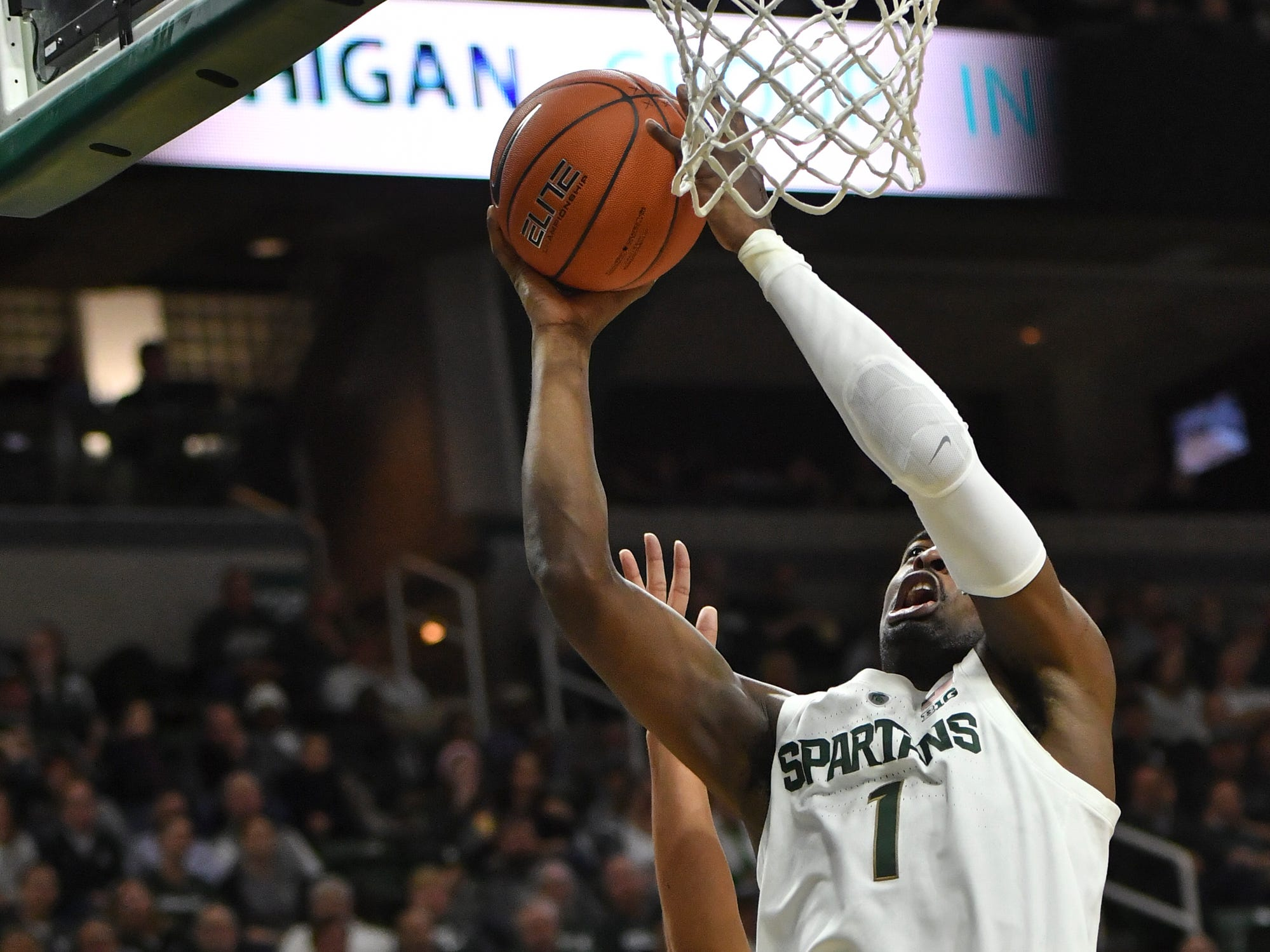 Joshua Langford scores against Louisiana-Monroe Wednesday, Nov. 14, 2018, at the Breslin Center.  MSU won 80-59.