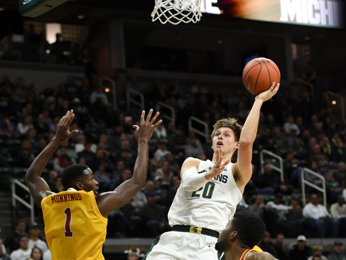 MSU senior Matt McQuaid drops in two against Louisiana-Monroe Wednesday, Nov. 14, 2018, at the Breslin Center.  MSU won 80-59.