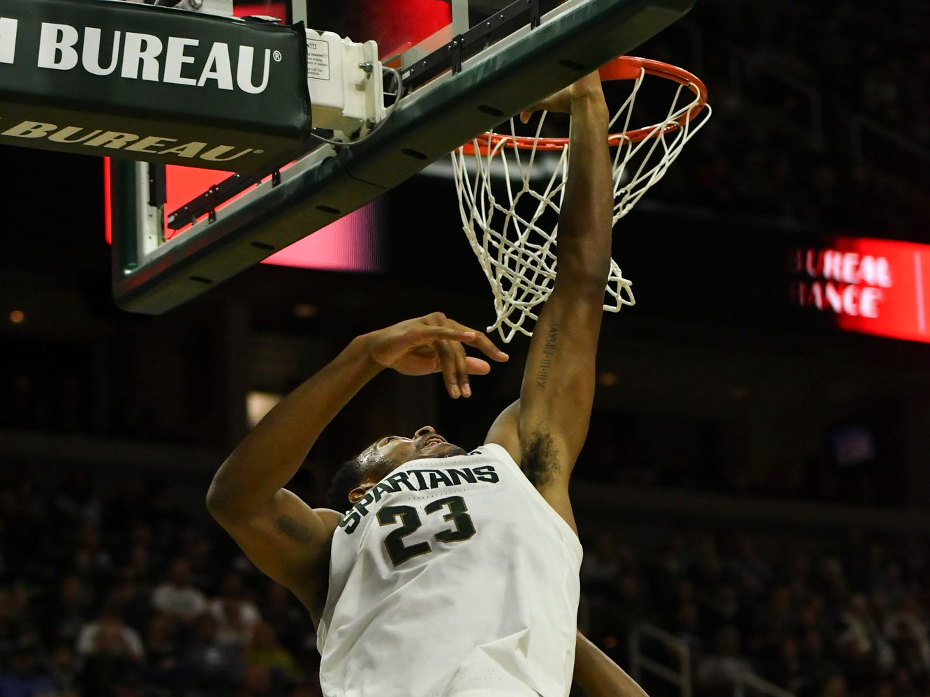 Xavier Tillman drops in two against ULM Wednesday, Nov. 14, 2018, at the Breslin Center.  MSU won 80-59.