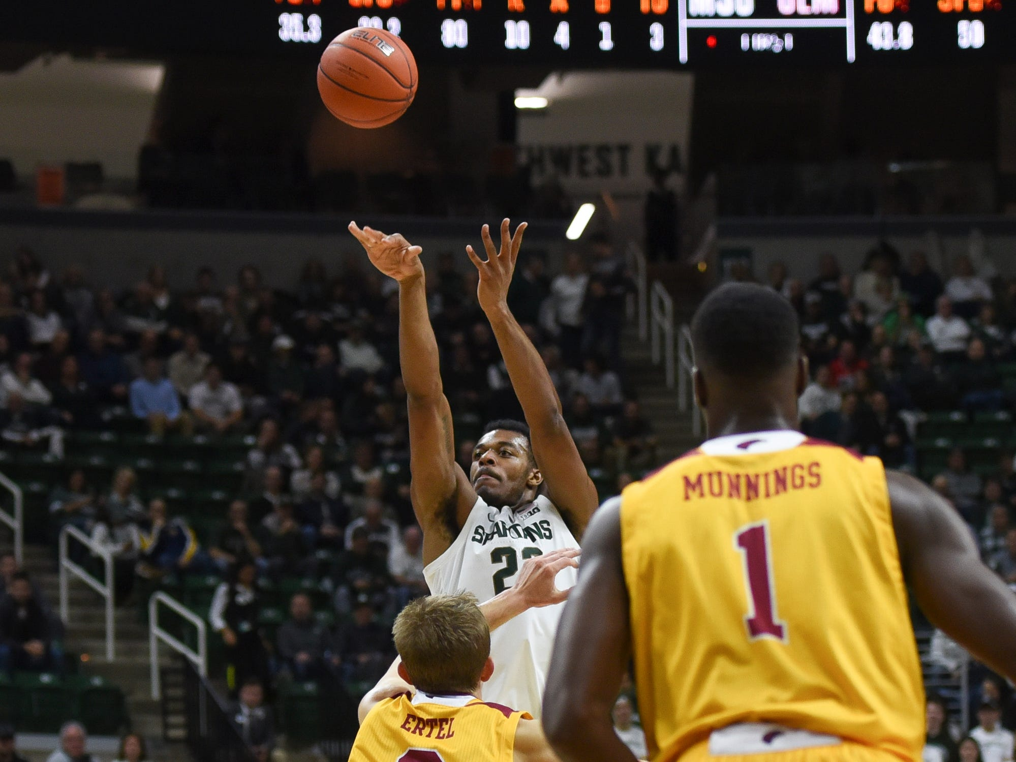 MSU's Xavier Tillman shoots against Michael Ertel of Louisiana-Monroe Wednesday, Nov. 14, 2018, at the Breslin Center.  MSU won 80-59.