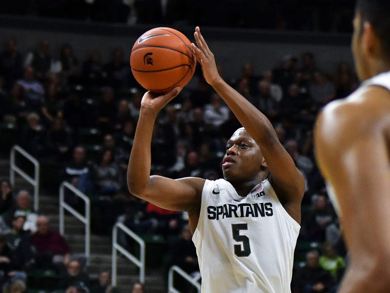 MSU's Cassius Winston shoots from three-point land against Louisiana-Monroe Wednesday, Nov. 14, 2018, at the Breslin Center.  MSU won 80-59.