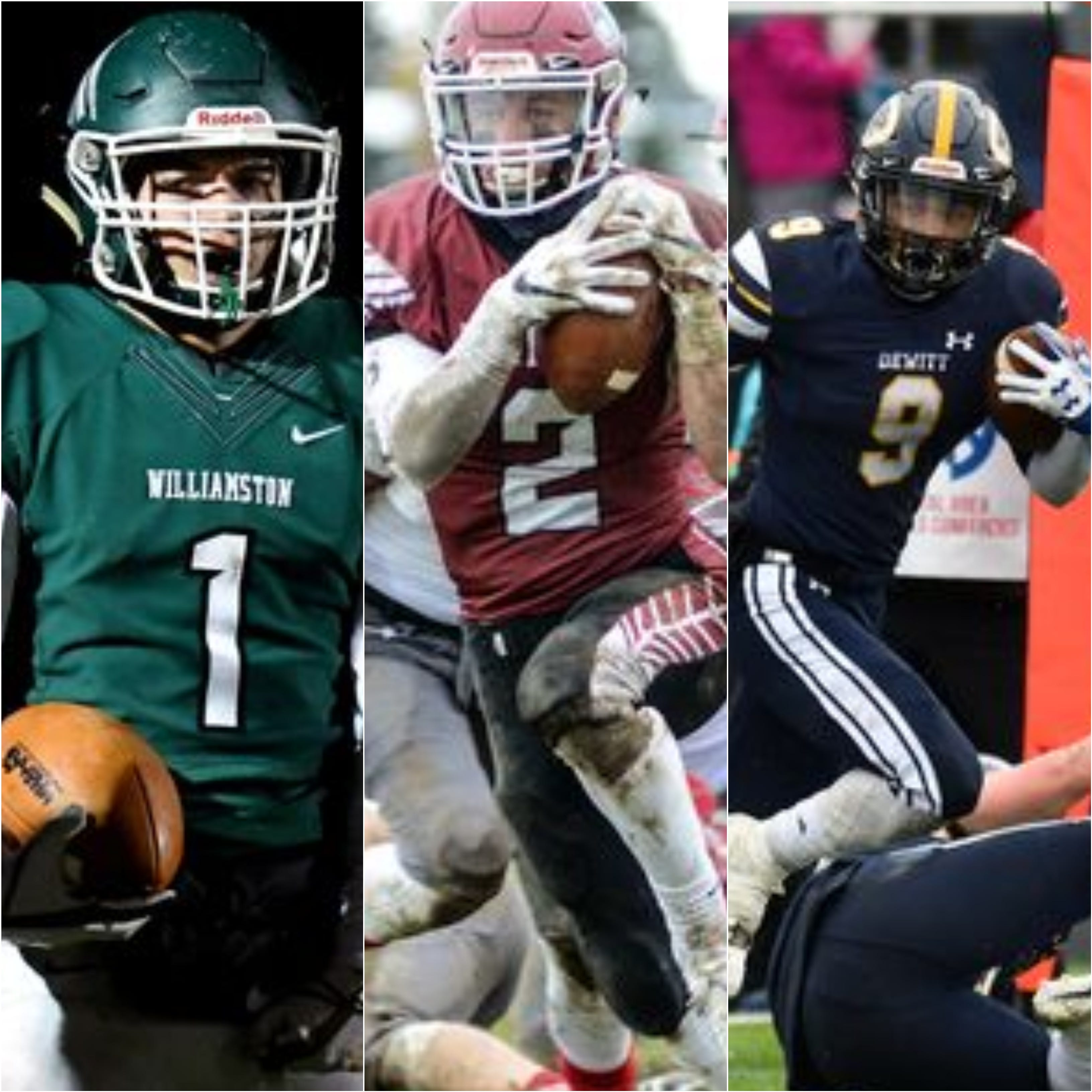 From left, Williamston's Carey Haney, Portland's Jacob Veale and DeWitt's Thaddeus Anwar are pictured during games last weekend. DeWitt, Portland and Williamston are representing the CAAC in state semifinals this weekend.
