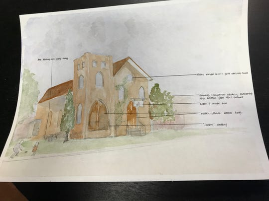 Ann Duchene's rendering of Rabbit & Mitten, an artisan hotel she's developing in a historic brick church in Grand Ledge.