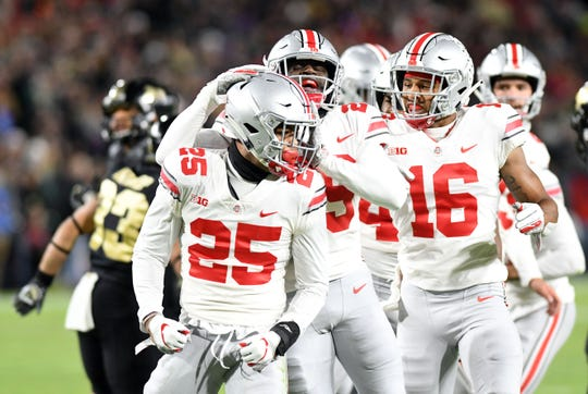 The emergence of sophomore safety Brendon White (25) has helped stabilized the Ohio State secondary.