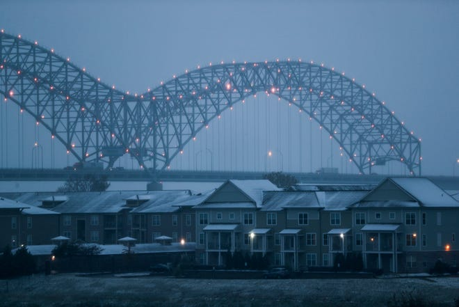November 14 2018 - The Hernando de Soto Bridge is seen during Wednesday's winter weather. The National Weather Service issued a winter weather advisory for the Mid-South area from 6 a.m. Wednesday morning until noon on Thursday.