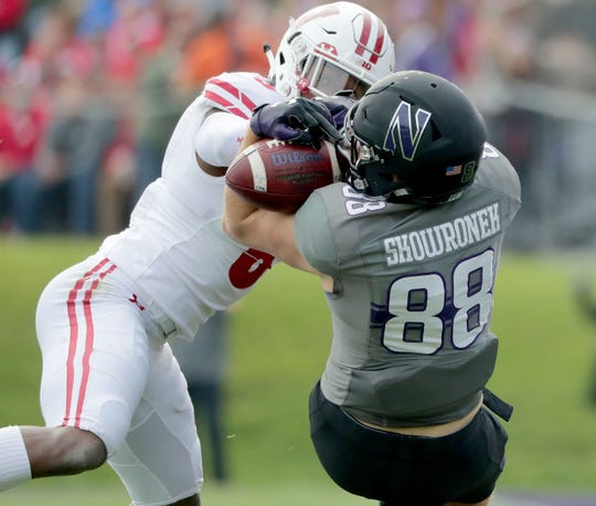 Northwestern Wildcats wide receiver Bennett Skowronek (88) makes a catch defended by Wisconsin Badgers cornerback Rachad Wildgoose (5) in the 1st half during the Big Ten football game against Northwestern at Ryan Field in Evanston, Illinois, Saturday, October 27, 2018.  -  Photo by Mike De Sisti / Milwaukee Journal Sentinel