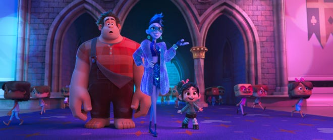 "Game characters Ralph (left, voiced by John C. Reilly) and Vanellope von Schweetz (right, Sarah Silverman) get help navigating the internet from Yess (Taraji P. Henson) in ""Ralph Breaks the Internet."""