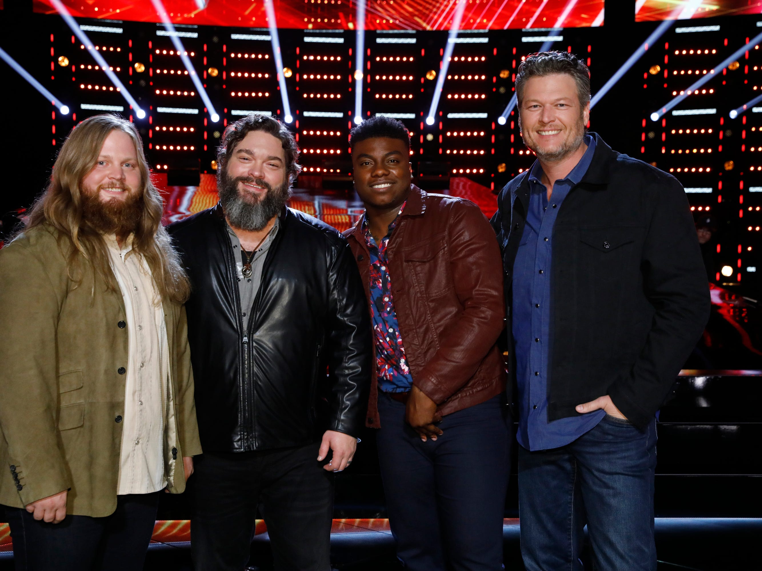 "Chris Kroeze (left) poses with the other final two contestants on Blake Shelton's team, Dave Fenley (second from left) and Kirk Jay, after the Nov. 13, 2018 episode of ""The Voice."" Also pictured is their coach, country superstar Shelton."