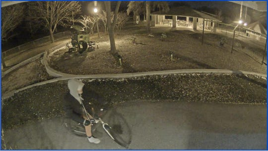 Thiensville police suspect this man spray-painted graffiti on the Village Park restroom building on Wednesday, Nov. 14.