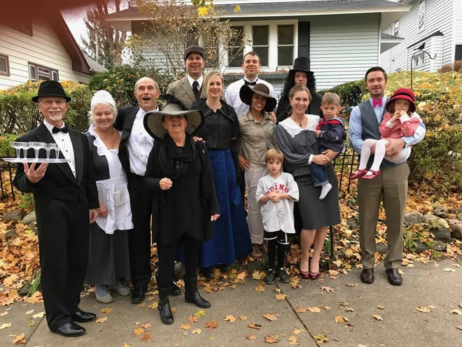 "In 2016, the whole gang dressed up as ""Downton Abbey"" characters and gathered outside for a photo."
