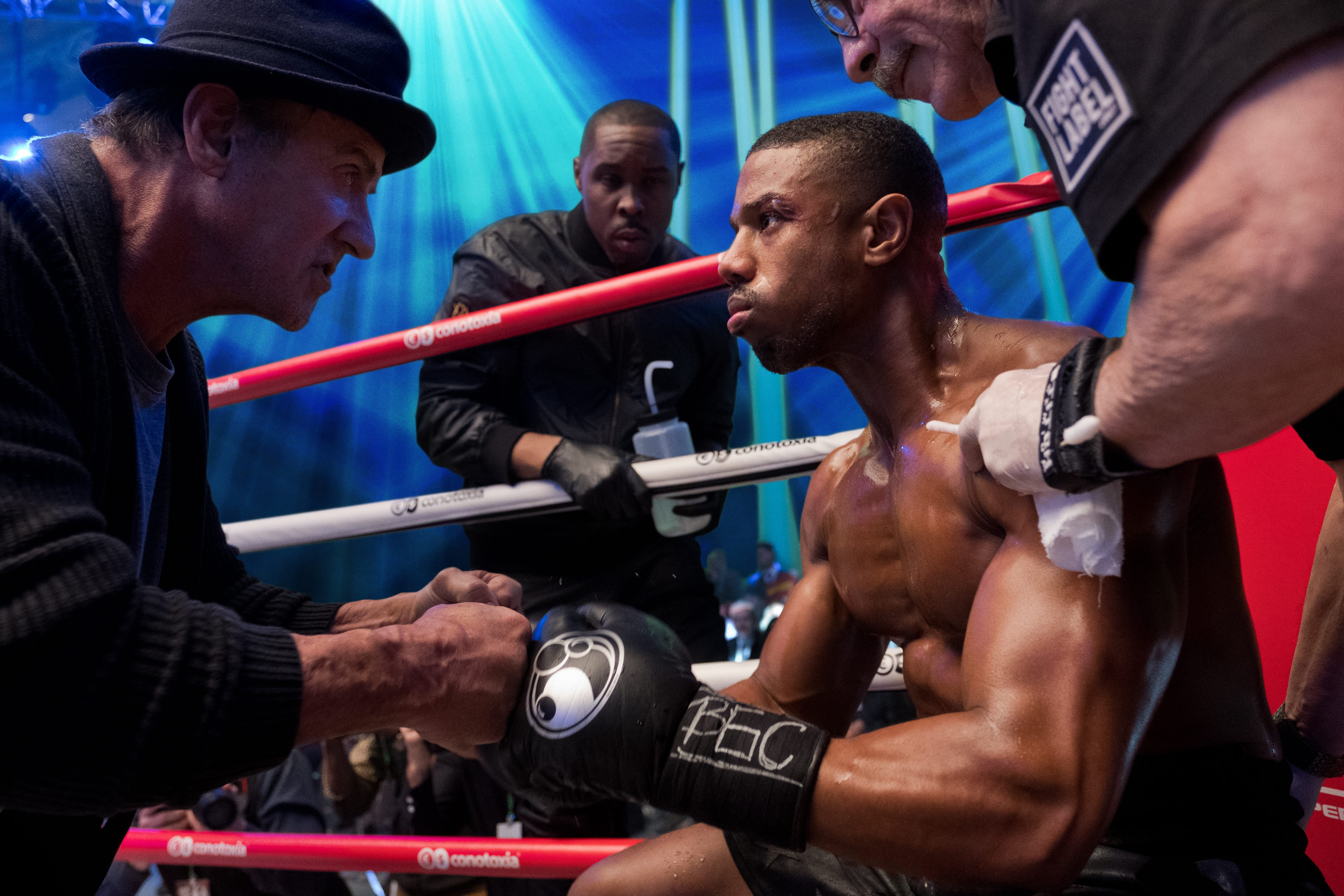"""Adonis Creed (Michael B. Jordan, right) still has Rocky Balboa (Sylvester Stallone, left) in his corner in """"Creed II."""""""