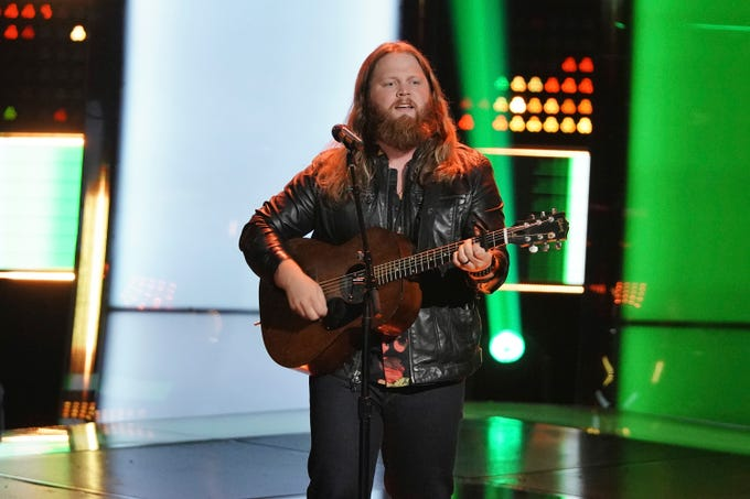 "Chris Kroeze, from Barron, Wisconsin, covered Stevie Ray Vaughan's ""Pride and Joy"" during his blind audition on ""The Voice"" on Oct. 16, 2018. He selected Blake Shelton as his coach."