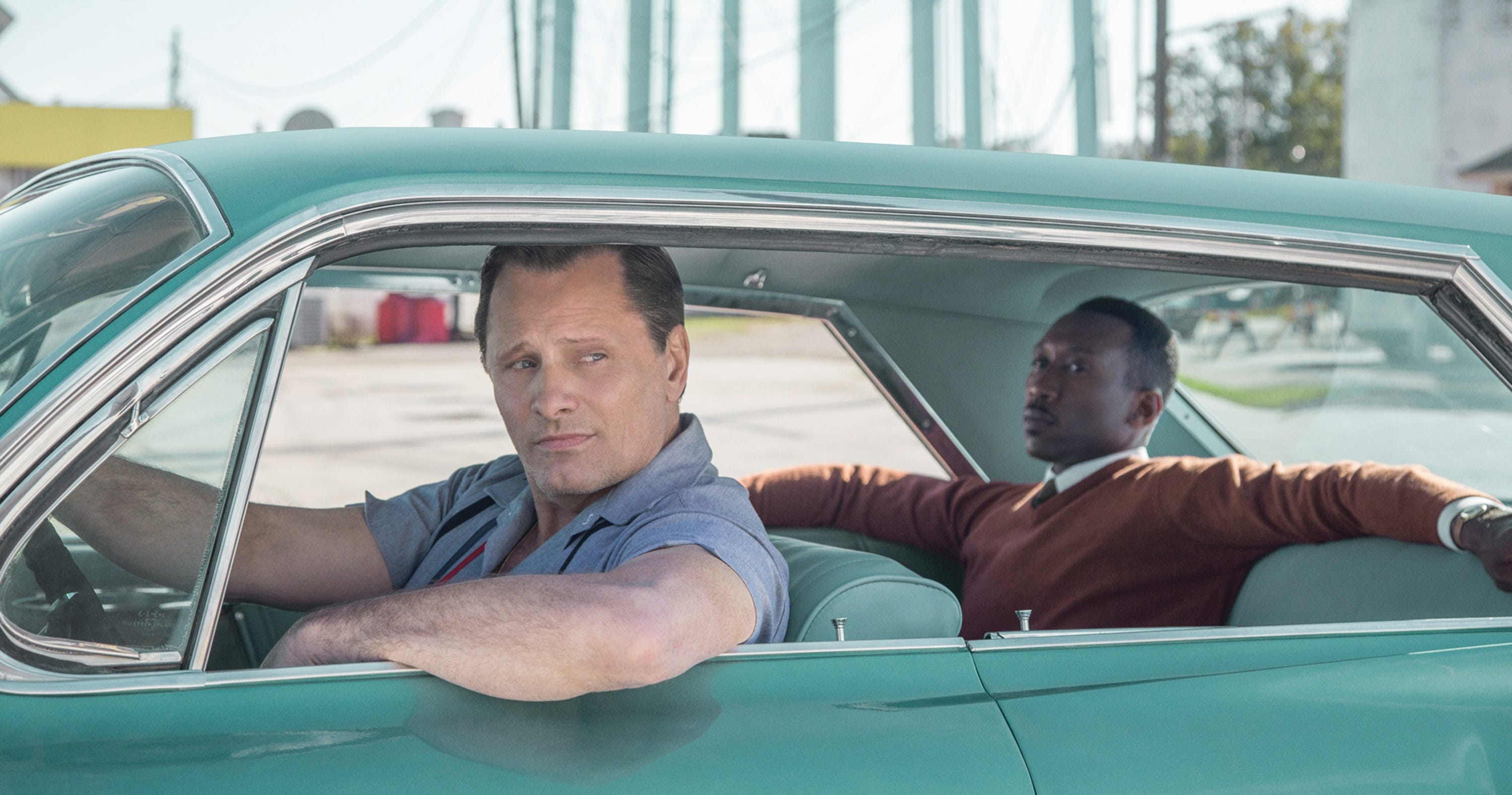 "Viggo Mortensen plays a workingclass guy who agrees to drive a classical pianist (Mahershala Ali) on his tour of the American South in the 1960s in ""Green Book."""