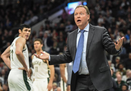 Bucks head coach Mike Budenholzer is aghast after receiving his second technical foul and an automatic ejection in the fourth quarter against the Grizzlies on Wednesday night.
