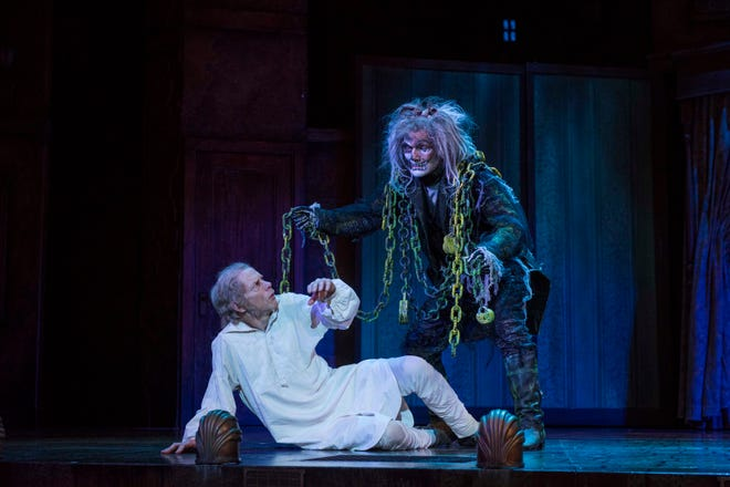 """The Milwaukee Repertory Theater is holding auditions for the 2020 """"A Christmas Carol,"""" a longtime favorite production. Shown are  Jonathan Wainwright as Scrooge and Jonathan Smoots as Jacob Marley during the Rep's 2017 production at the Pabst Theater."""