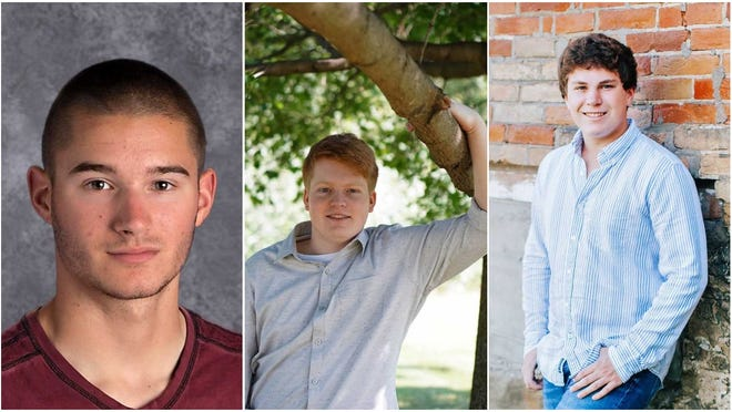 Three Oconomowoc High School alumni scored among the best in the nation on exams for the High School of Business program. They're (from left) Nathaniel Trego, Nathan DuPont and Brett Miller.