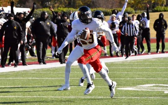 Grambling State redshirt junior corner Joe McWilliams (29) returns an interception for a touchdown at Alabama A&M Saturday Nov. 10, 2018.