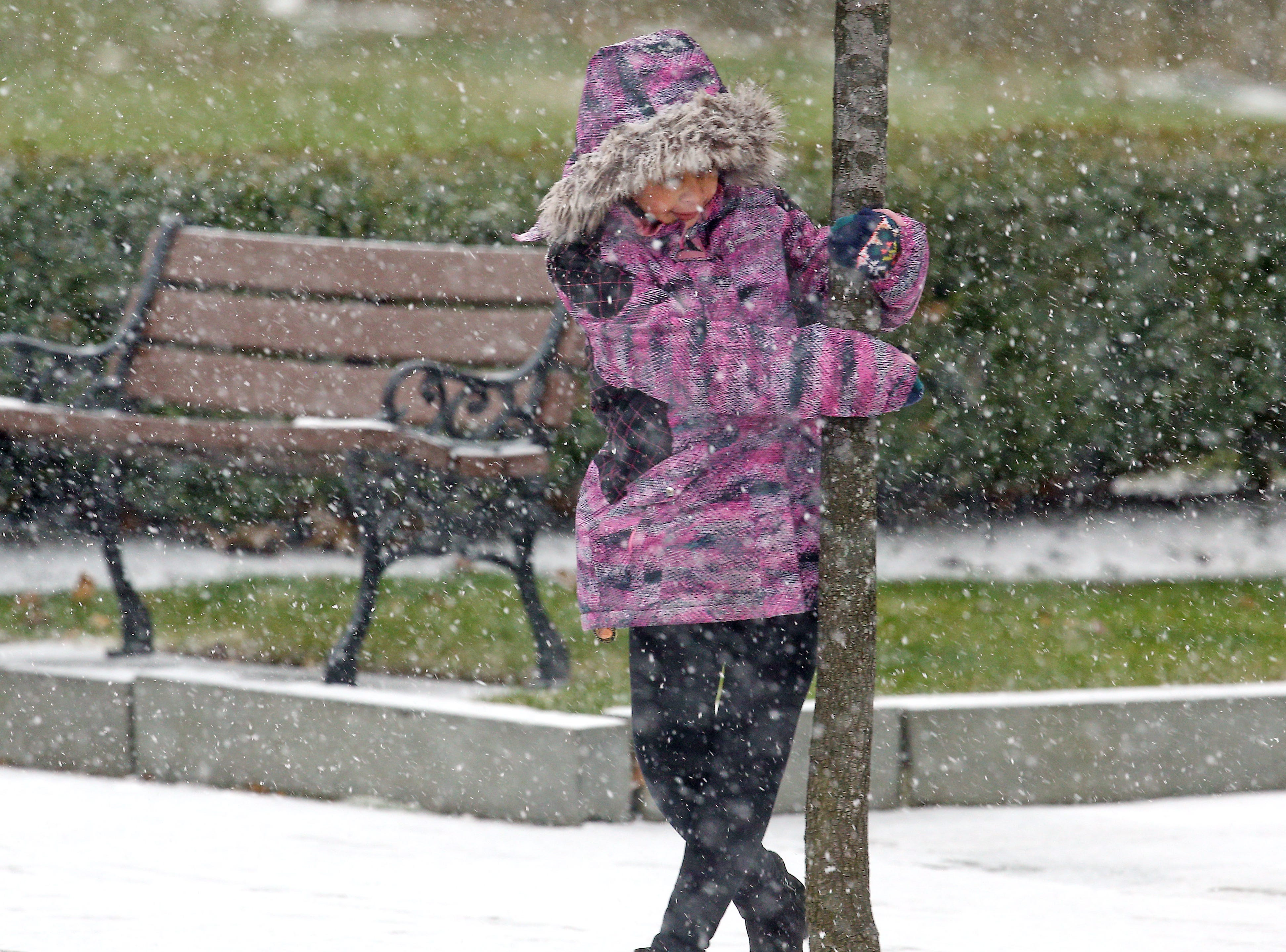 9-year-old Khloe Wedderburn of Morristown swings around a tree on South Street enjoying the weather at the beginning of a predicted nor'easter, scheduled to dump over half a foot of snow and freezing rain on the area.  November 15, 2018, Morristown, NJ