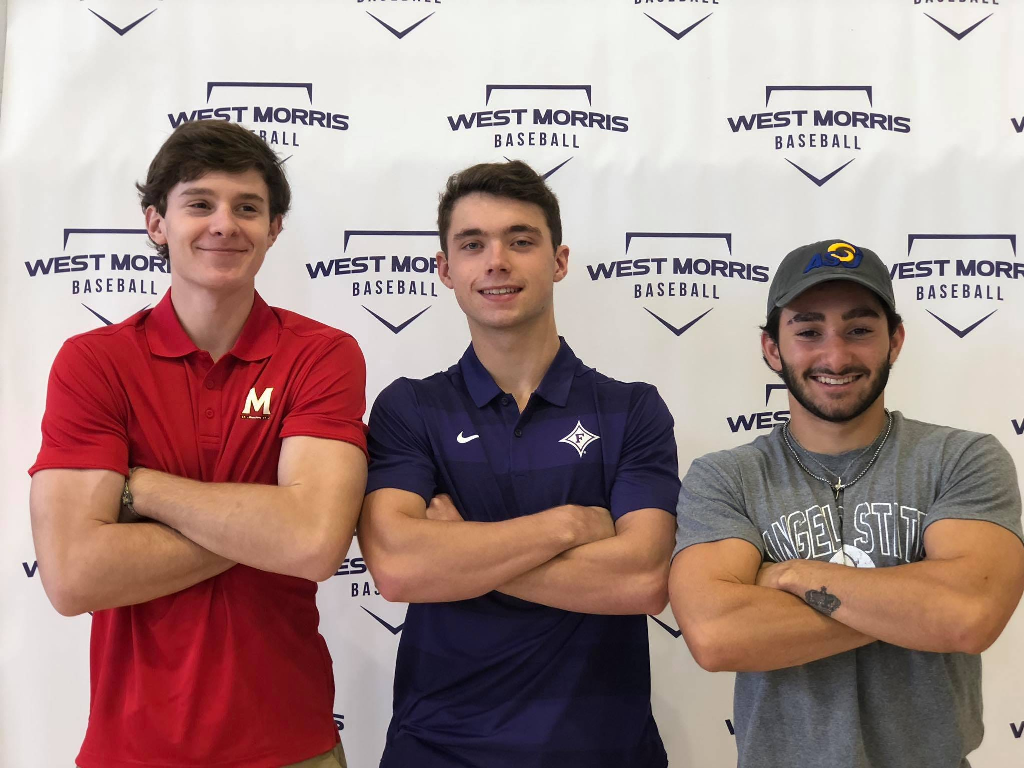 West Morris baseball players Connor Staine (Maryland), Aidan Healy (Furman) and Nick Calabrese (Angelo State) signed National Letters of Intent Wednesday.