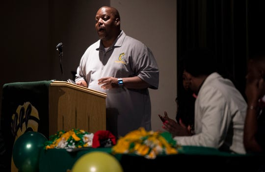 Carver basketball head coach James Jackson talks about Jaykwon Walton during signing day at Carver High School in Montgomery, Ala., on Thursday, Nov. 15, 2018.