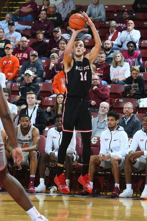 Ball State's Kyle Mallers shoots against Virginia Tech on day one of men's basketball action in the 2018 Charleston Classic at TD Arena on Thursday, November 15, 2018 in Charleston, South Carolina.