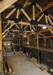 A view of the main barn at the Park at Harlinsdale Farm during renovation work in 2013. The city has been working to refurbish several structures on the property.