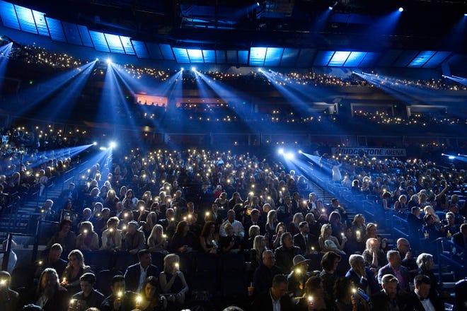 Bridgestone Arena is packed for the 52nd Annual CMA Awards Wednesday Nov. 14, 2018, in Nashville, Tenn.