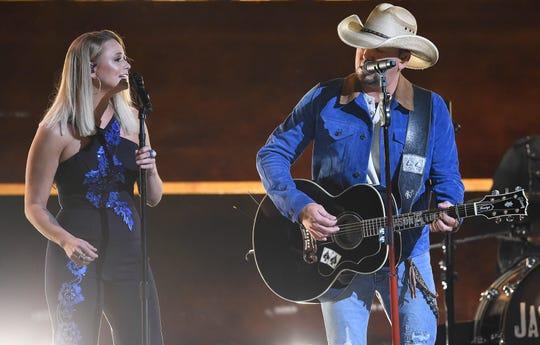 Miranda Lambert and Jason Aldean perform during the 52nd Annual CMA Awards at Bridgestone Arena Wednesday, Nov. 14, 2018, in Nashville, Tenn.
