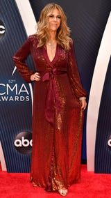 Actress Rita Wilson stops on the CMA Awards red carpet to talk to the Tennessean's Cindy Watts and Dave Paulson.