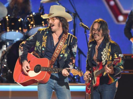 Midland performs during the 52nd Annual CMA Awards at Bridgestone Arena Wednesday Nov. 14, 2018, in Nashville, Tenn.
