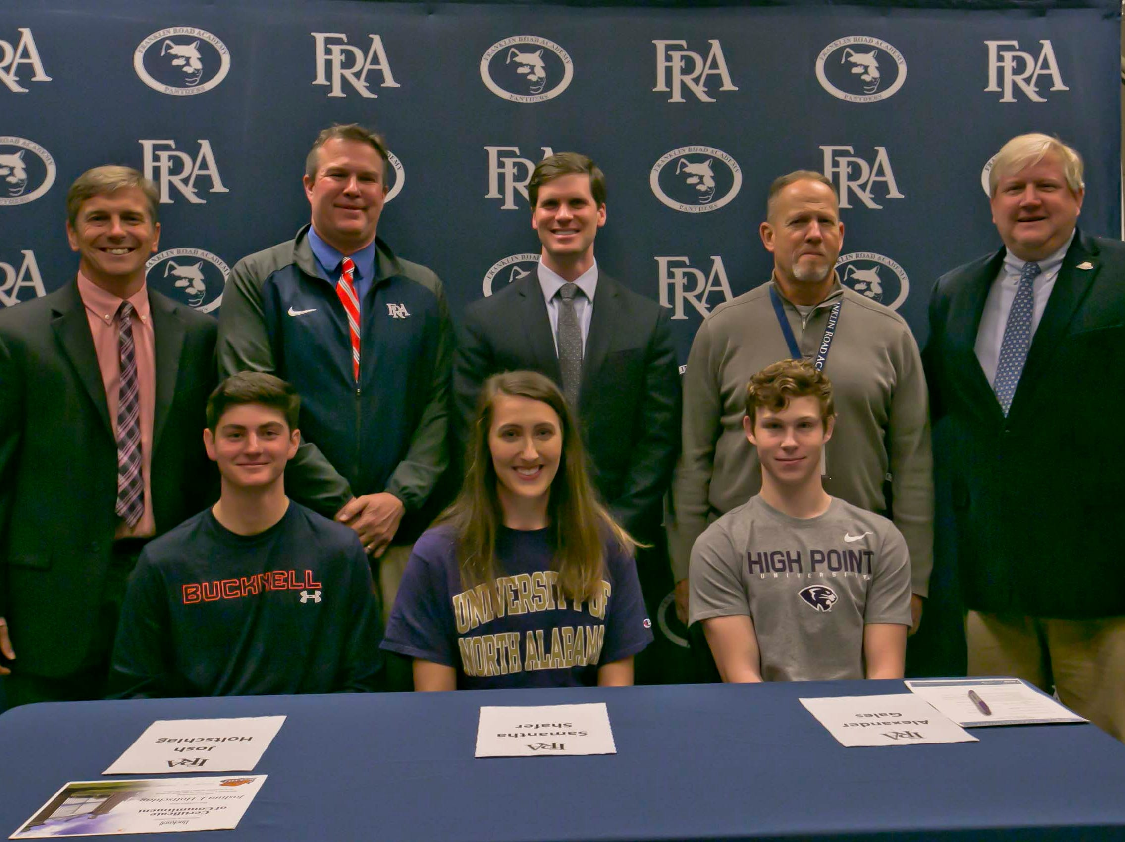 FRA had three athletes sign letters of intent on Wednesday to play sports. They included Josh Holtschlag (Bucknell golf), Samantha Shafer (North Alabama volleyball), Alexander Gales (High Point track and field).