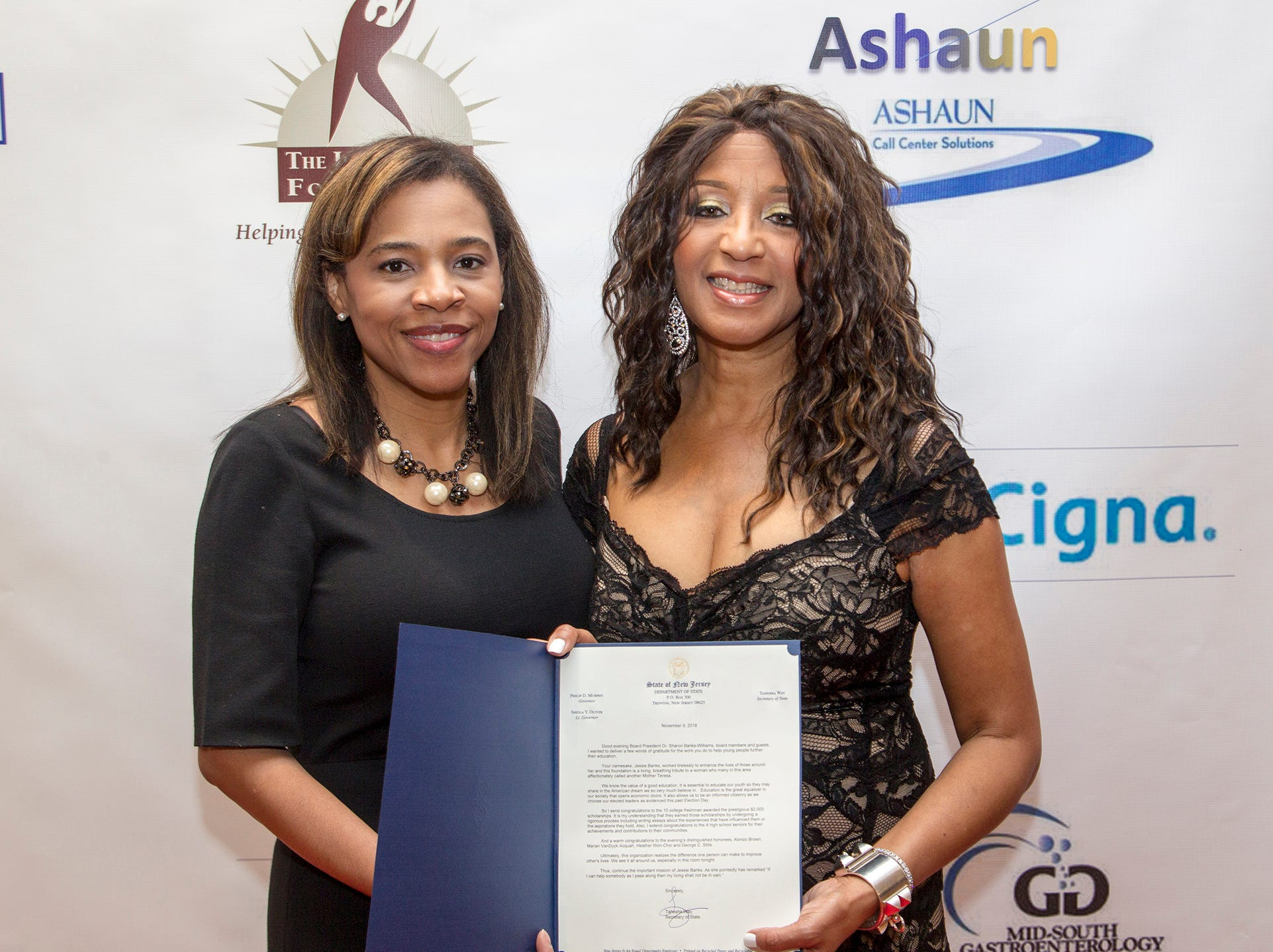 Tahesha Way, Secretary of State of New Jersey & Dr. Sharon Banks-Williams . Jessie Banks Foundation holds 16th annual Scholarship Awards Gala in Teaneck. 11/09/2018