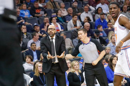 New York Knicks coach David Fizdale reacts to an official's call after a play during the first half of the team's NBA basketball game against the Oklahoma City Thunder in Oklahoma City, Wednesday, Nov. 14, 2018.