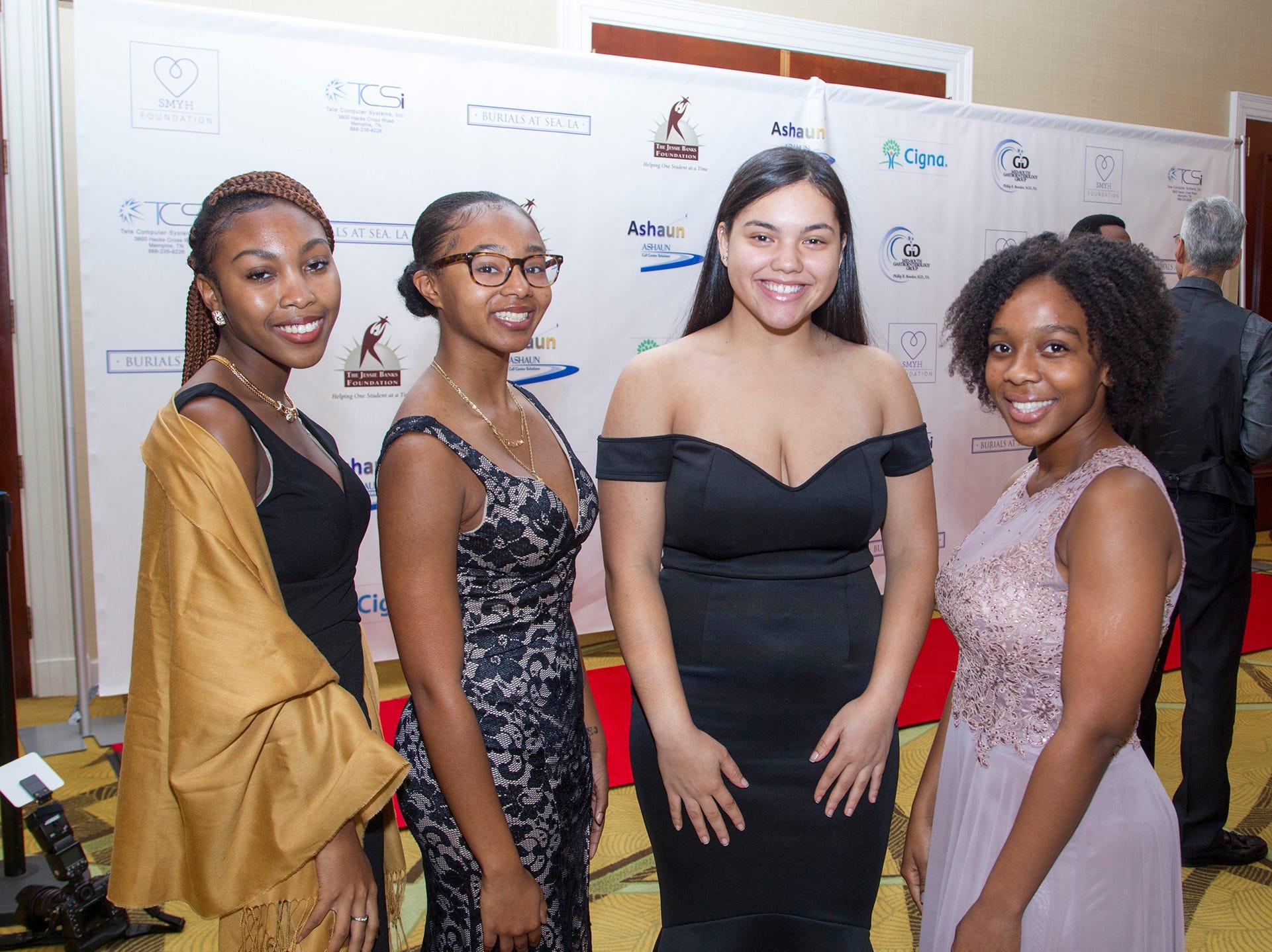 Daijia Canton, Amoria Burks, Jerena Veras, Kristen Dillard. Jessie Banks Foundation holds 16th annual Scholarship Awards Gala in Teaneck. 11/09/2018