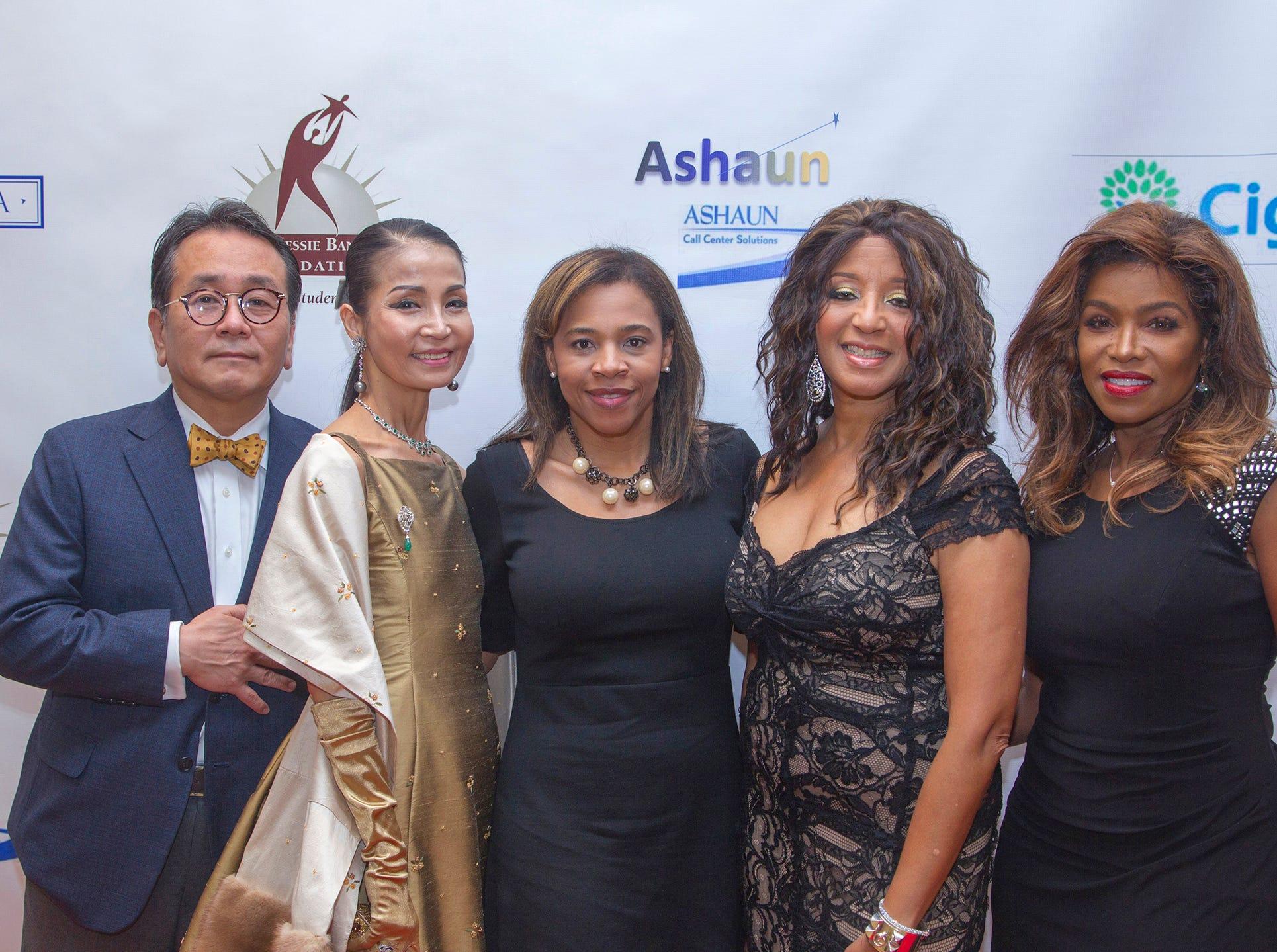 Dr. Mingi Choi, Heather Won Choi, Tahesha Way, Secretary of State of New Jersey & Dr. Sharon Banks-Williams, Toni Yates.  Jessie Banks Foundation holds 16th annual Scholarship Awards Gala in Teaneck. 11/09/2018
