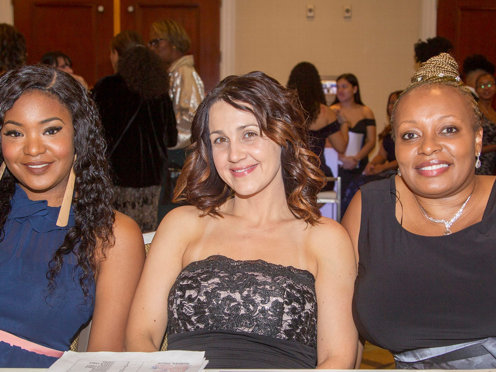 Elaine Tate, Christina Mohoney, Ariel Gibbs-Jones. Jessie Banks Foundation holds 16th annual Scholarship Awards Gala in Teaneck. 11/09/2018