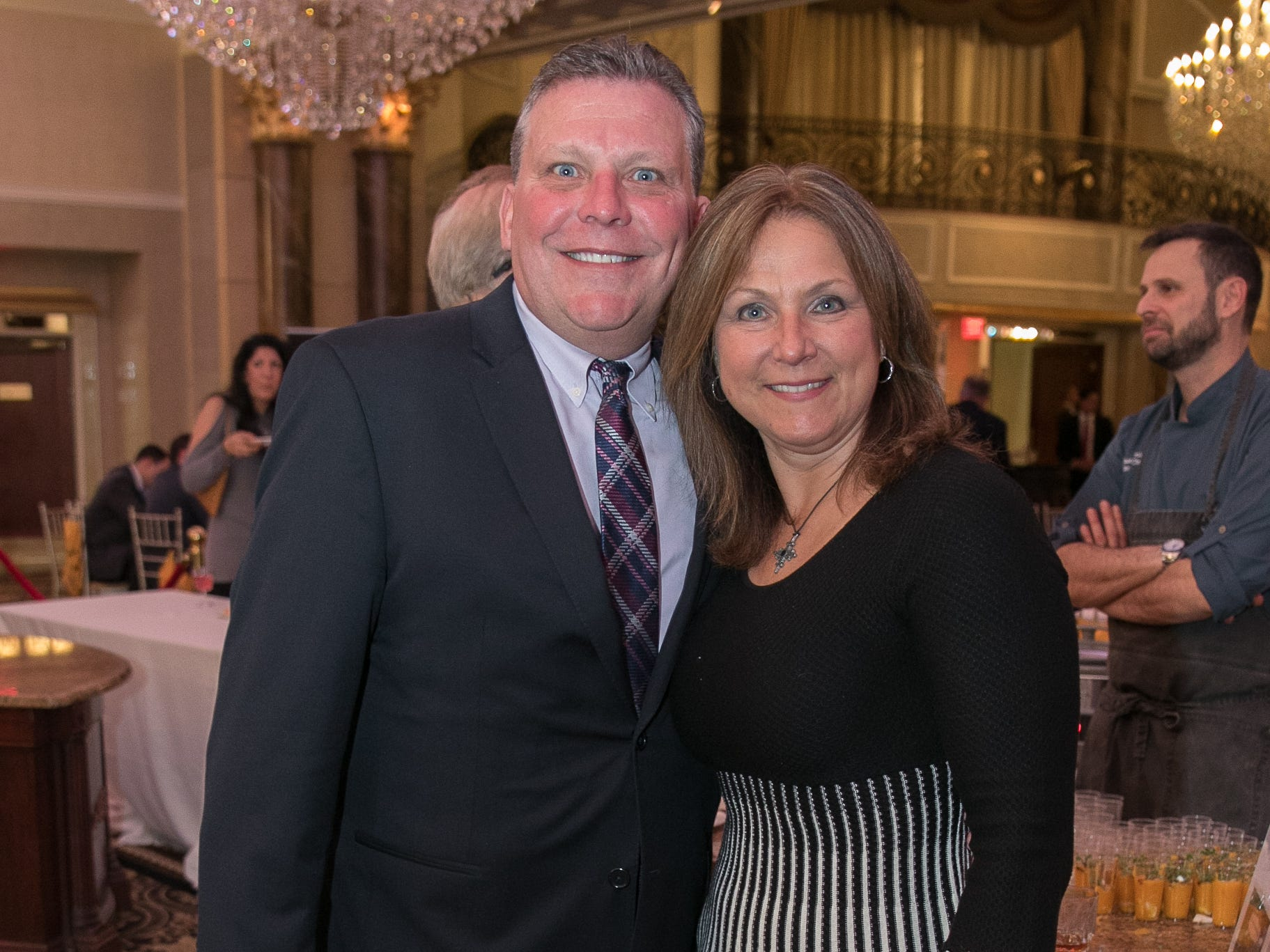 "Jeff Carney, Laura Litchult. The New Bridge Medical Center Foundation held its 10th Annual ""A Taste of Bergen"" at The Venetian in Garfield. The evening featured celebrity chef Chris Holland, the 2017 Grand Champion of the Food Network's ""Chopped."" 11/12/2018"