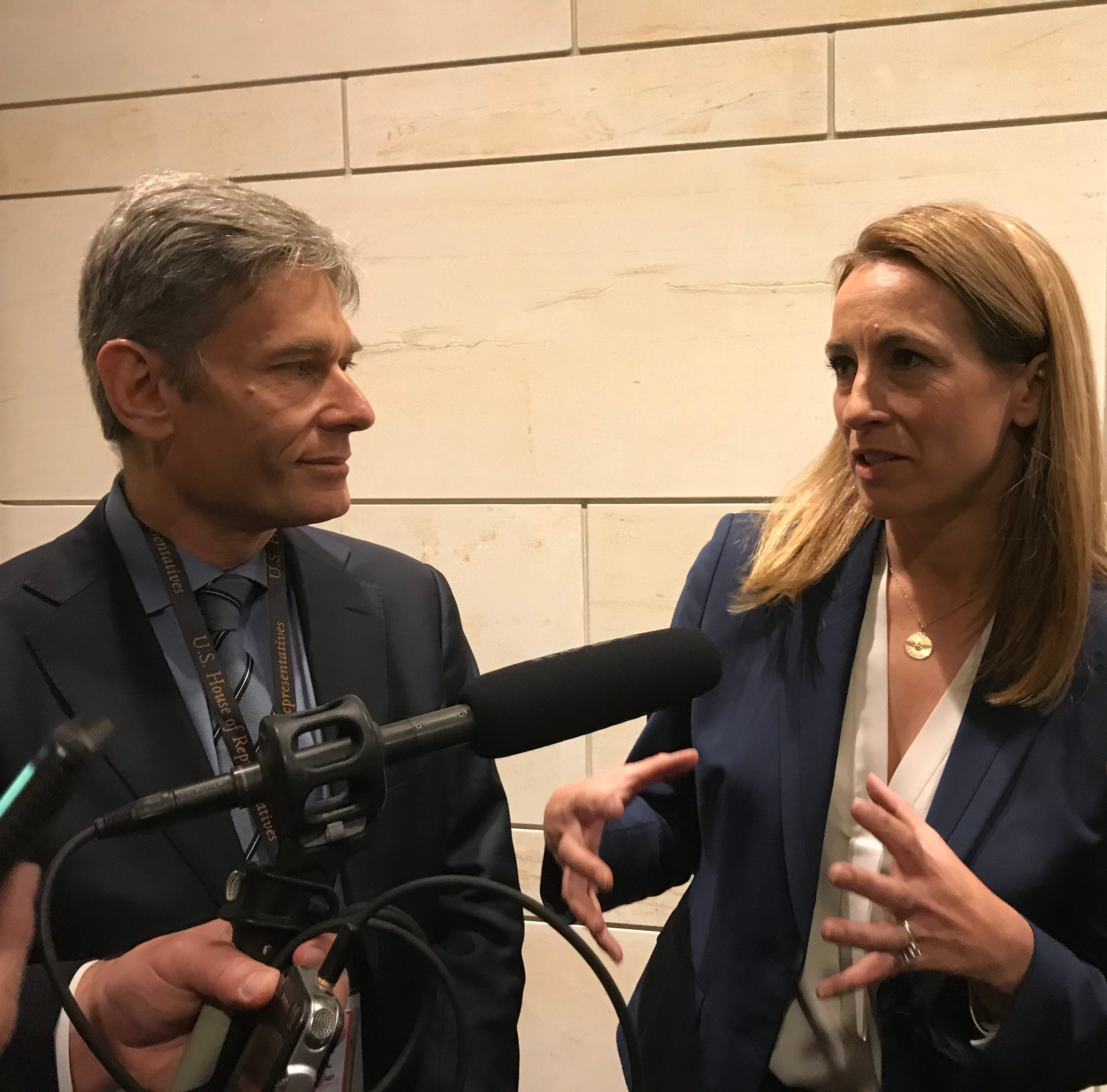 As Rep.elect Tom Malinowski looks on, Rep.-elect Mikie Sherrill discusses her first week of orientation as a new member of Congress on Nov. 15, 2018.